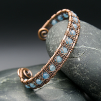 Wire Weave Copper Cuff with Faceted Pale Blue Jade beads