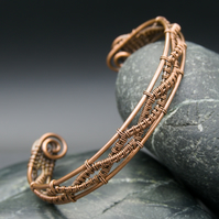 Copper Wire Weave Cuff - Twisted Braid