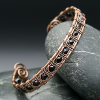Snake Wire Weave Copper Cuff with Black Faceted Glass Beads
