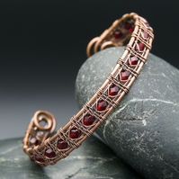 Snake Wire Weave Copper Cuff with Red Faceted Glass Beads