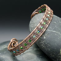 Snake Wire Weave Copper Cuff - Wide with Emerald AB Glass Beads