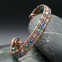 Snake Wire Weave Copper Cuff with Blue, Teal & Purple Faceted Glass Beads