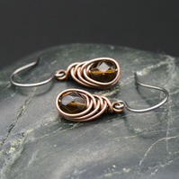 Copper Wire Wrapped Earrings with Faceted Brown Glass Beads