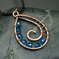 Copper Wire Weave Spiral Drop Pendant with Faceted Capri Blue Beads