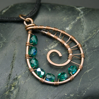 Copper Wire Weave Spiral Drop Pendant with Faceted Teal Beads