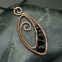 Copper Wire Weave Pendant with Faceted Black Glass Beads