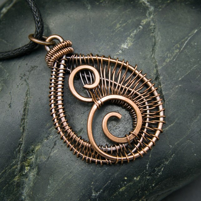 Copper Wire Weave Hammered Spiral Drop Pendant