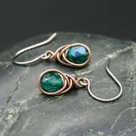 Copper Wire Wrapped Earrings with Faceted Teal AB Glass Beads