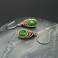 Copper Wire Wrapped Earrings with Faceted Emerald Green Glass Beads