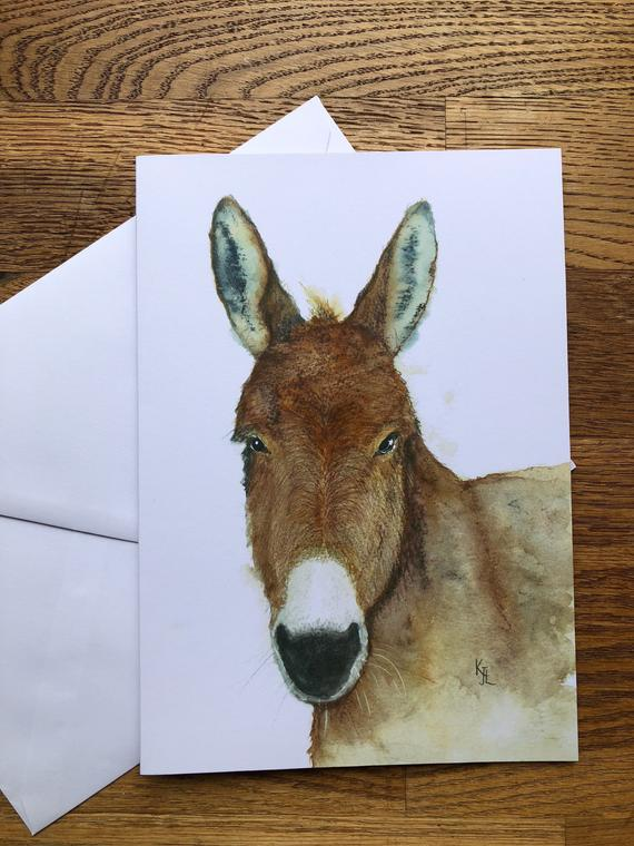 Free UK postage - A5 blank card of Delabole Donkey -