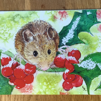 free UK postage - Blank art card of Mousehole Mouse  -