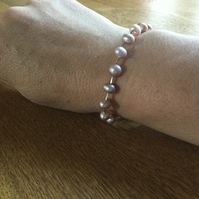 Pink freshwater pearl and silver bracelet