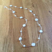 Long freshwater pearl and sterling silver necklace Free UK postage
