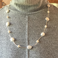 Long freshwater pearl and sterling silver necklace