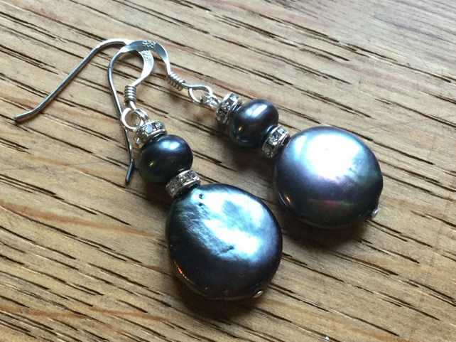 Pearl coin and silver earrings- free UK post
