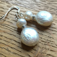White pearl and diamanté earrings, free UK post