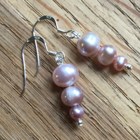 Pretty pink graduated pearl and silver earrings