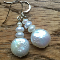 Freshwater pearl coin and silver earrings - free UK postage