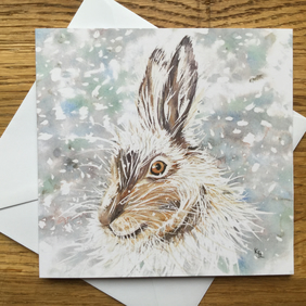 free UK post - 4 x blank Hare cards suitable for Christmas or other occasions!