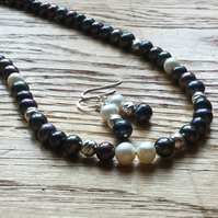 Incredible dark colour  freshwater pearl necklace and earrings - free UK postage