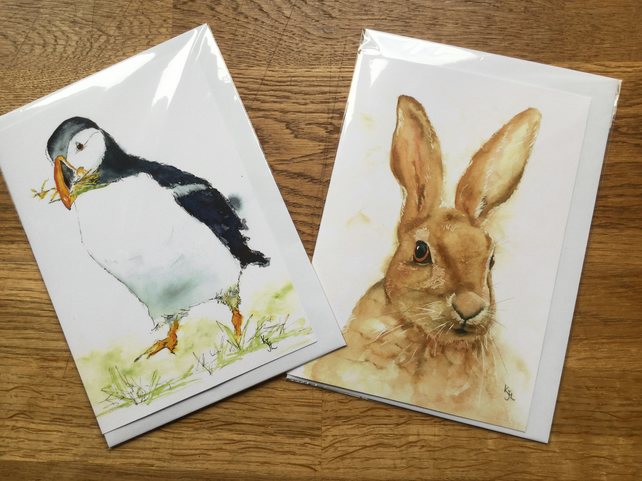 FREE UK POSTAGE - A5 blank cards of my original puffin and hare watercolours