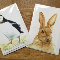 A5 blank cards of my original puffin and hare watercolours - free UK postage