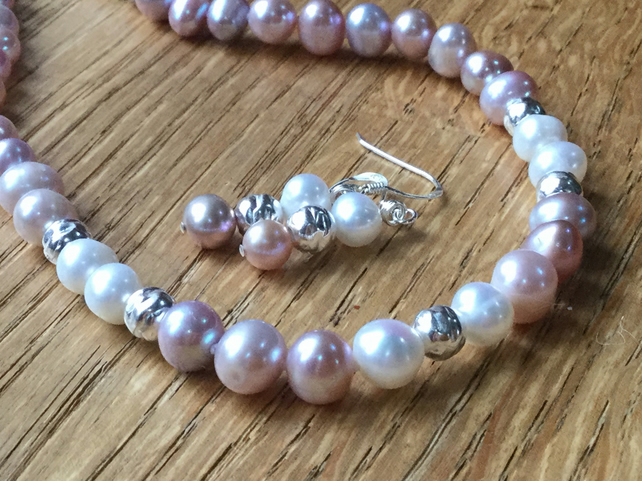 Beautiful pale pink and freshwater pearl necklace and earrings - free UK postage