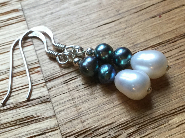Beautiful freshwater pearl and silver earrings
