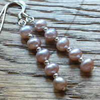 SALE - 40% OFF Gorgeous 5 pink pearls and silver earrings