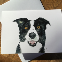 free UK postage  - A5 blank card of my original Collie dog watercolour-