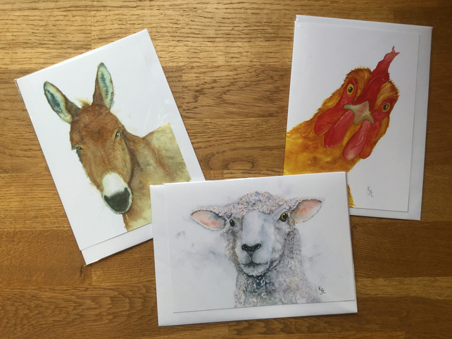 FREE UK POSTAGE - A5 blank cards, farm animal collection - Free UK postage