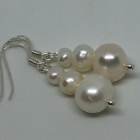 Fabulous white freshwater pearl & silver earrings - FREE UK DELIVERY