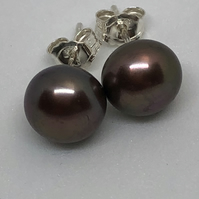 Bronze copper freshwater pearl and sterling silver stud earrings Free UK postage
