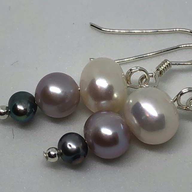 Beautiful white, pink and grey freshwater pearl earrings - FREE UK DELIVERY