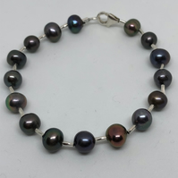 Black freshwater pearl and silver bracelet
