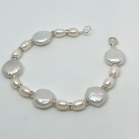 Freshwater pearl and diamanté  bracelet  - free UK delivery