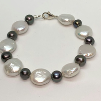 Freshwater pearl coin  and sterling silver bracelet  - free UK delivery