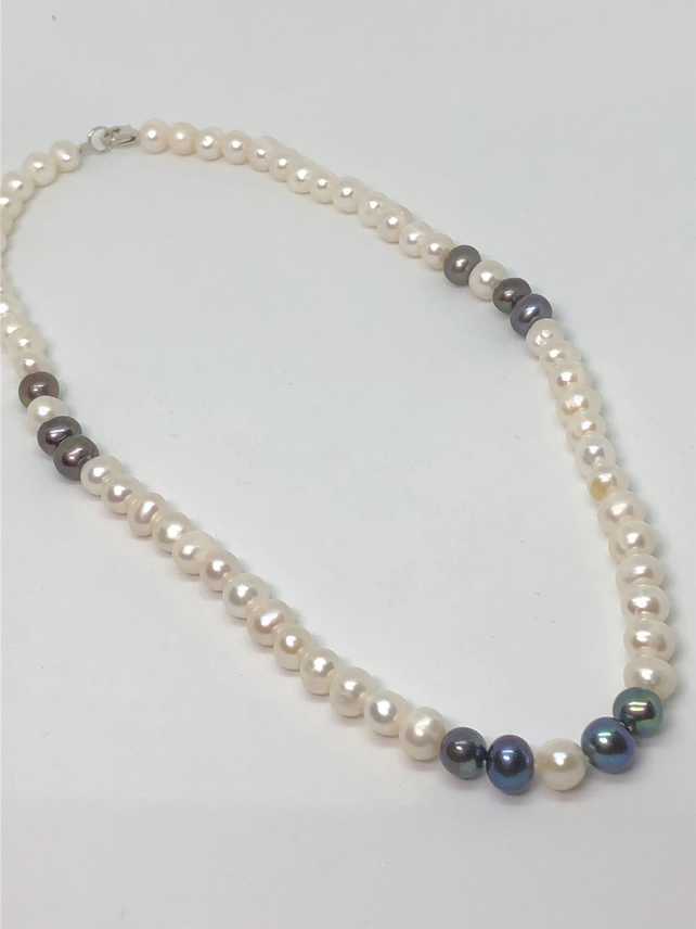 Stunning hand-tied freshwater pearl and silver necklace - Free UK postage