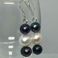 Fabulous white and black freshwater pearl & silver earrings - FREE UK DELIVERY