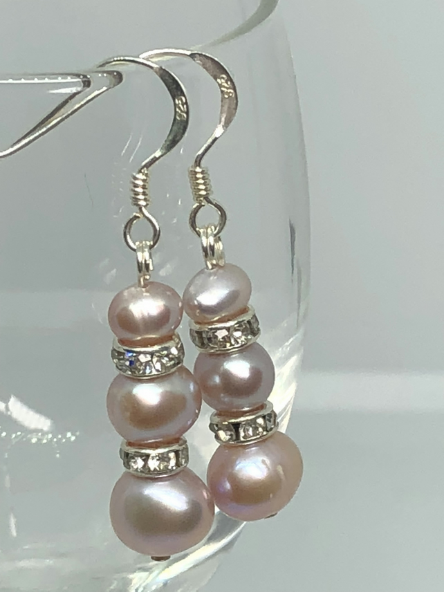 Pink  freshwater pearl and diamanté and silver earrings - FREE UK DELIVERY