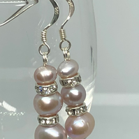 REDUCED freshwater pearl and diamanté and silver earrings - FREE UK DELIVERY