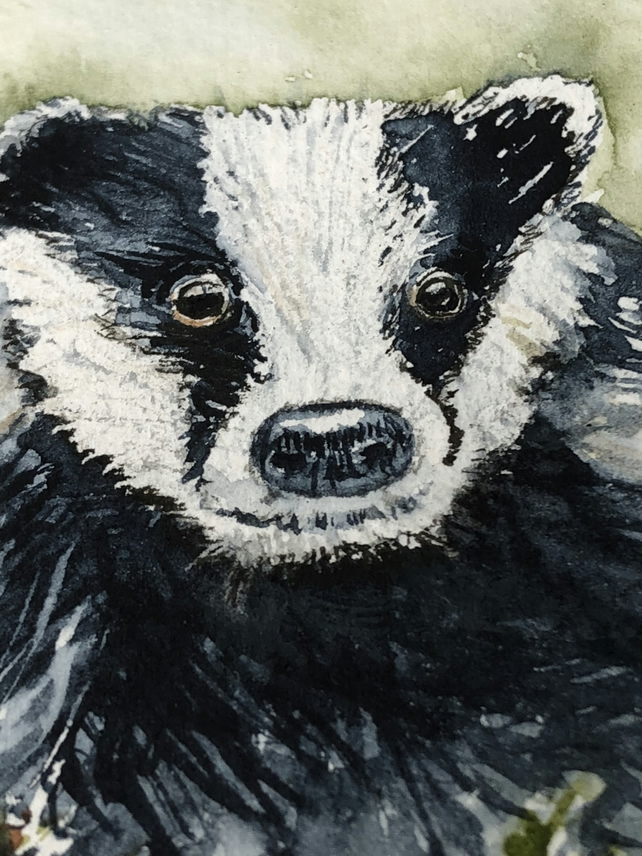 Original watercolour of Barry Badger - ACEO - free UK postage