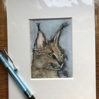 'Leonard Lynx' Mounted print of miniature watercolour - FREE UK POST