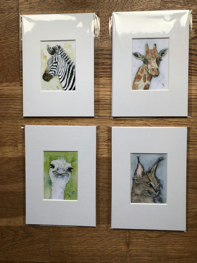 4 Mounted prints of miniature watercolours - FREE UK POST