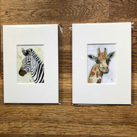 2 Mounted prints of miniature watercolours - FREE UK POST