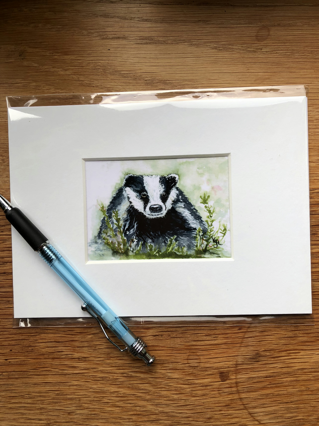 'Barry Badger' Mounted print of miniature watercolour - FREE UK POST