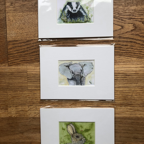 3 Mounted prints of miniature watercolours - FREE UK POST