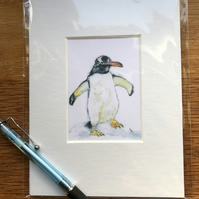 'Percy Penguin' Mounted print of miniature watercolour - FREE UK POST