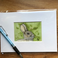'Randolph Rabbit' Mounted print of miniature watercolour - FREE UK POST
