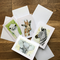 FREE UK POSTAGE - 4 x blank safari animal cards  -